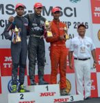 Arun Mammen, Managing Director, MRF Ltd., (extreme right) with Vikash Anand (centre), who won a double, Anindith Reddy (left) and third placed Raghul Rangasamy (July 17)