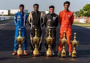 Championship winners (Left to Right) - Keith Desouza (IJTC), Arjun Narendran (ITC), Vikash Anand (MRF F1600) and Raghul Rangasamy (Super Stock, F1300)