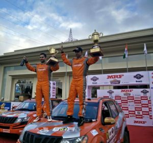 Gaurav Gill (Driver) and Musa Sherif (Co-Driver) of Team Mahindra Adventure masters the tarmac stages of Nashik to win the MRF Rally of Maharashtra