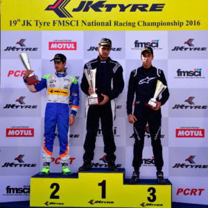 The winners in the Euro JK 16 race in the 19th JK Tyre FMSCI National Racing Championship at the Kary Motor Speedway on Sunday. Nayan Chatterjee was the winner while Kush Maini and Ricky Donison finished second